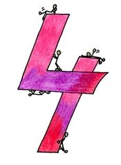 Ziffer Vier bunt - Ziffer, Vier, Strichmännchen, Rot, Lila, Violett, Rosa, Purpur, warme Farben, Zahlenraum Zehn, Anlaut V, Illustration