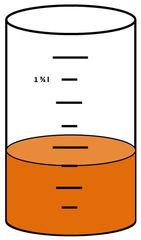 Zylinder mit Flüssigkeit #2 - Messbecher, Zylinder, Standzylinder, messen, Maß, Liter, Kubikzentimeter, abmessen, Inhalt, Volumen, Menge, Skala, Einteilung, Zahlenstrahl, Bruchteil, Bruch, Umwandlung, ablesen, Maßumwandlung, Einheit, Hohlmaß, Gefäß, Flüssigkeitsmaß