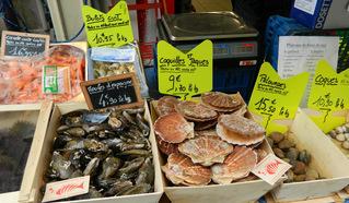 fruits de mer - Frankreich, civilisation, fruits de mer, Meeresfrüchte, moules, Muscheln, coquilles St Jacques, Jakobsmuscheln, Stand