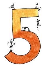 Ziffer Fünf /bunt - Ziffer, Fünf, Strichmännchen, Illustration, Gelb, Hellbraun, Ocker, Zahlenraum Zehn, Anlaut F