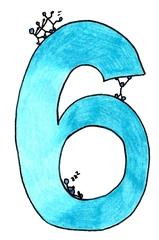 Ziffer Sechs /bunt - Ziffer, Sechs, Strichmännchen, Meerblau, Türkis, Hellblau, kalte Farben, Zahlenraum Zehn, Anlaut S, Illustration