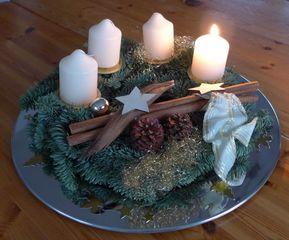 Adventskranz - Advent, 1 Advent, Kerze, Licht, Schnee, leuchten, Glanz