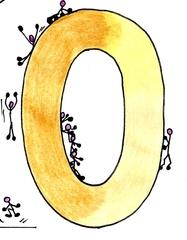 Ziffer Null /bunt - Ziffer, Null, Strichmännchen, rutschen, stützen, lehnen, Schultersitz, klettern, hüpfen, landen, aufkommen, Gelb, Ocker, Farbübergänge, Zahlenraum Zehn, Anlaut N, Illustration