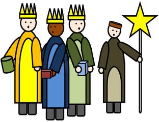 Heilige drei Könige – Sternsinger farbig - Heilige Drei Könige, Caspar, Melchior, Balthasar, Gaben, Morgenland, Weihnachten, Epiphanias, Sternsinger, Stern, Brauchtum, Zeichnung, Dreikönigsingen, katholisch, Segen, Gold, Weihrauch, Myrrhe, Geschenk