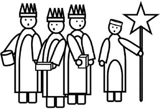 Heilige drei Könige – Sternsinger s/w - Heilige Drei Könige, Caspar, Melchior, Balthasar, Gaben, Morgenland, Weihnachten, Epiphanias, Sternsinger, Stern, Brauchtum, Zeichnung, Dreikönigsingen, katholisch, Segen, Gold, Weihrauch, Myrrhe, Geschenk