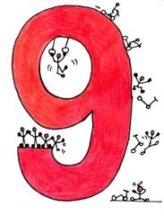 Ziffer Neun/bunt - Ziffer, Neun, springen, rutschen, turnen, fallen, schwingen, Rot, Strichmännchen, rutschen, stützen, Illustration, lehnen, klettern, hüpfen, landen, aufkommen, Zahlenraum Zehn, Anlaut N
