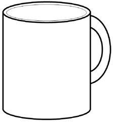 Geschirr: Becher - Becher, Pott, Tasse, Kaffeebecher, mug, coffee mug, Kaffee, trinken, Flüssigkeit, Behälter, Griff, Henkel, handle, Zeichnung