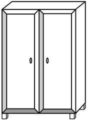 Schrank - Schrank, Kleiderschrank, Behälter, container, cupboard, Tür, Türen, zwei, Quader, Kleidung, Möbel, Möbelstück, Zeichnung, wardrobe, Volumen, Mathematik, Anlaut Sch