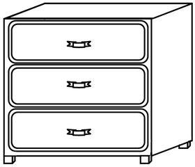 Kommode - Kommode, Möbel, Möbelstück, Einrichtung, Behälter, Schublade, Schubladen, drei, Griff, Zeichnung, Quader, Inhalt, Ordnung, Volumen, Mathematik