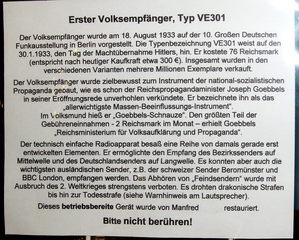 Volksempfänger Typ VE301 #2 - Volksempfänger, Radio, Radioapparat, 1933, Hitler, Nationalsozialismus, Propaganda, Sender, Mittelwelle, Langwelle, Feindsender, Weltkrieg, Strafe, Todesstrafe