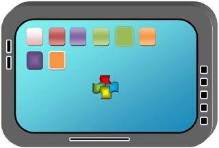 Tablet-PC #1 farbig - Tablet, Tablet-PC, Tabletcomputer, flach, Touchscreen, Bildschirm, leicht, Internet, surfen, telefonieren, App, Smartphone, schreiben, Kommunikation, Zeichnung, mobile phone