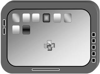 Tablet-PC #2 Graustufen - Tablet, Tablet-PC, Tabletcomputer, flach, Touchscreen, Bildschirm, leicht, Internet, surfen, telefonieren, App, Smartphone, schreiben, Kommunikation, Zeichnung, mobile phone