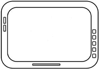 Tablet-PC #3 s/w - Tablet, Tablet-PC, Tabletcomputer, flach, Touchscreen, Bildschirm, leicht, Internet, surfen, telefonieren, App, Smartphone, schreiben, Kommunikation, Zeichnung, mobile phone