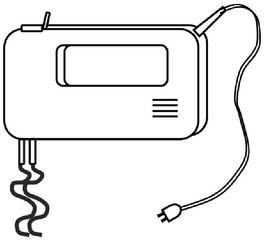Handmixer mit Knethaken - Handmixer, Knethaken, kneten, Teig, Kuchen, Kuchenteig, backen, mischen, Küche, Küchenmaschine, Küchenhelfer, Küchengerät, Zeichnung, Haushalt
