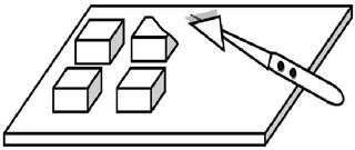 Butter teilen - Butter, teilen, schneiden, Portion, portionieren, trennen, Ecke, Teil, kochen, backen, Hausarbeit, Küche, Zeichnung, Viertel, vierteln, Stück, Stücke, Butterflocken, Vorgangsbeschreibung, Wörter mit ei