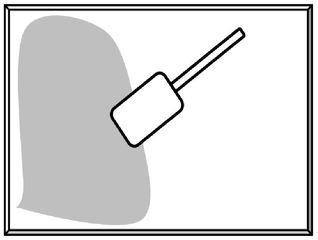 Teig aufs Backblech streichen - Teig, Backblech, Teigschaber, backen, Blech, Kuchen, Küche, Haushalt, Zeichnung, streichen, verteilen, Vorgang, Vorgangsbeschreibung