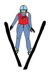 Skispringen farbig - Skispringen, Skifliegen, springen, fliegen, Sport, Sportart, Winter, Wintersportart, Winter, Schnee, Eis, olympisch, Schi