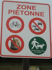 zone piétonne - civilisation, zone, piétonne, panneau, Schild, Fußgängerzone, plage, Strand, mer, Meer, chien, vélo