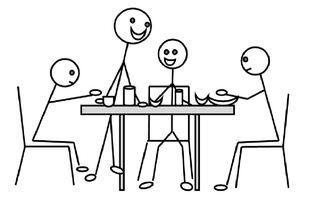 Frühstücken - frühstücken, Frühstück, Mahlzeit, morgens, essen, Familie, Tisch, Frühstückstisch, Zeichnung