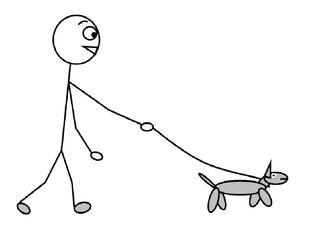 Hund ausführen - Hund, ausführen, Gassi gehen, rausgehen, Leine, spazieren, Zeichnung, Wörter mit ei