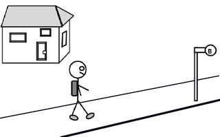 Schulweg - Schulweg, Weg, Bürgersteig, gehen, Bushaltestelle, Bus, Schulbus, Ranzen, Zeichnung