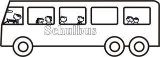 Mit dem Schulbus fahren - Schulbus, fahren, Transport, Schülertransport, Bus, Verkehrsmittel, Zeichnung, Fahrer, Fahrgäste