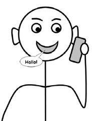 telefonieren - telefonieren, anrufen, Freunde, Kontakt, Kommunikation, sprechen, Handy, Mobiltelefon, Zeichnung, Telefon, Smartphone