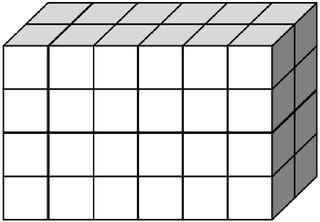 Quader aus vielen kleinen Würfeln gebildet (48) - Körper, Quader, Einheitswürfel, Geometrie, Rauminhalt, Volumen, Oberfläche, Fläche, Schrägbild, Schrägriss, Kubikzentimeter