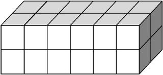 Quader aus vielen kleinen Würfeln gebildet (24) - Körper, Quader, Einheitswürfel, Geometrie, Rauminhalt, Volumen, Oberfläche, Fläche, Schrägbild, Schrägriss, Kubikzentimeter