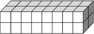 Quader aus vielen kleinen Würfeln gebildet (32) - Körper, Quader, Einheitswürfel, Geometrie, Rauminhalt, Volumen, Oberfläche, Fläche, Schrägbild, Schrägriss, Kubikzentimeter