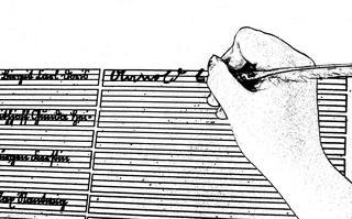 Schreiben sw - schreiben, Schrift, Blatt, Linien, Sütterlin, Feder, Hand, Lineatur, alt