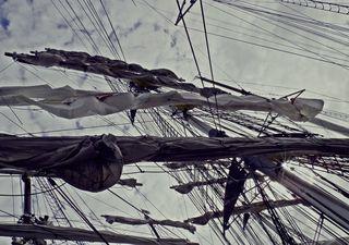 Takelage eines Großseglers#1 - Schiff, Takelage, takeln, Segelschiff, Segelboot, takeln, Takelung, Segelfahrzeug, Seile, Seil, auftakeln