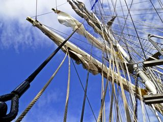 Takelage eines Großseglers#2 - Segler, Segelschiff, Segelboot, Segelfahrzeug, Takelung, takeln, auftakeln, Seil, Seile, Takelage