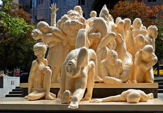 The Illuminated Crowd #3 - Canada, Kanada, Montreal, Skulptur, Kunst, Menschenmenge, Plastik, Gesichter, Gefühle, Ausdruck, Menschen, menschlich, symbolisch, Mimik, mimisch, Bewegung, Ethik