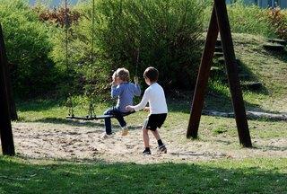 Spielen im Freien - schaukeln, spielen, Natur, Verb, Kind, Kinder, bewegen, Bewegung, Freizeit, gemeinsam, Pendel, pendeln, Physik