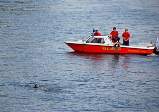 Wasserrettung - Rettung eines Schwimmers #2 - Rettung, Wasser, retten, Ehrenamt, ehrenamtlich, Rettungsschwimmer, helfen, ertrinken, schwimmen, erschöpft, hilflos, Unfall, verunfallt, Not, springen, sichern, Rettungsboot, Lifeguards, Lifeguard, Rettungsdienst, Gefahr, Gefahrenabwehr, Engagement, Erste Hilfe