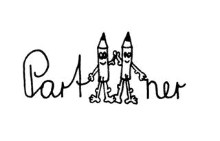 Bleistiftmännchen - Partner - Bleistift, Bleistiftmännchen, Gesicht, Männchen, Stift, spitz, spitzen, witzig, fröhlich, Symbol Partner, gemeinsam, Symbolkarte, Illustration