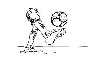 Ball auf dem Fuß - Fußball, jonglieren, spielen, Spiel, Mannschaftssport, Ball, Ballspiel, Meisterschaftssport, WM, EM, Champion, schießen, Ballannahme, Sport