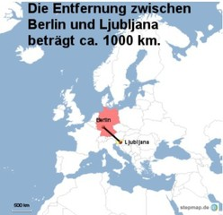 Landkarte Weg Berlin nach Ljubljana - Landkarte, Entfernung, Abstand, Strecke, politische Karte, Hauptstadt, Luftlinie, Berlin, Deutschland, Europa, Ljubljana, 1000km, Slowenien, Maßstab, Mathematik