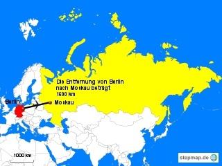 Landkarte Weg Berlin nach Moskau - Landkarte, Entfernung, Abstand, Strecke, politische Karte, Hauptstadt, Luftlinie, Berlin, Deutschland, Europa, Asien, Russland, Moskau, 1600km, Maßstab, Mathematik
