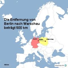 Landkarte Weg Berlin nach Warschau - Landkarte, Entfernung, Abstand, Strecke, politische Karte, Hauptstadt, Luftlinie, Berlin, Deutschland, Europa, 500km, Warschau, Polen, Maßstab, Mathematik