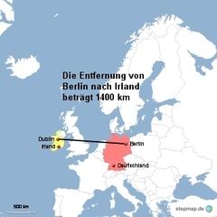 Landkarte Weg Berlin nach Dublin - Landkarte, Entfernung, Abstand, Strecke, politische Karte, Hauptstadt, Luftlinie, Berlin, Deutschland, Europa, Dublin, Irland, 1400km, Maßstab, Mathematik