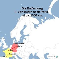 Landkarte Weg Berlin nach Paris - Landkarte, Entfernung, Abstand, Strecke, politische Karte, Hauptstadt, Luftlinie, Berlin, Deutschland, Europa, Paris, Frankreich, 1000km, Maßstab, Mathematik