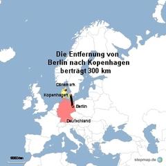 Landkarte Weg Berlin nach Kopenhagen - Landkarte, Entfernung, Abstand, Strecke, politische Karte, Hauptstadt, Luftlinie, Berlin, Deutschland, Europa, Kopenhagen, Dänemark, 300km, Maßstab, Mathematik
