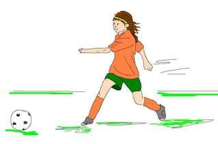 Fußballspielerin farb - Fußball, spielen, Spiel, Ball, Ballsportart, WM, EM, Meisterschaft, Fuß, Kinder, Sport, laufen, schießen, Champion, Ballspiel, Fußballspielerin, Spielerin, Mädchen, Sportlerin