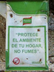 Hinweis auf Zigarettenschachtel  - ambiente, hogar, fumar