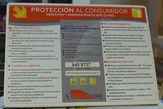 Hinweisschild: Protección al consumidor - Hinweisschild, derechos, deberes, consumidor