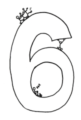 Ziffer Sechs /SW - Ziffer, Sechs, Strichmännchen, Zahlenraum Zehn, Anlaut S, Anlaut Z