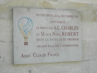 Abflug Wasserstoffballon - Paris, Schild, panneau, Physiker, Wasserstoffballon, Ballonflug, 1783, A.C.Charles, Ballon