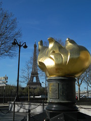 flamme de la liberté#2 - Paris, Freiheitsstatue, statue de la liberté, Flamme, tour Eiffel, Eiffelturm